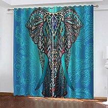 TTBBBB Rideau Chambre Fille Éléphant Motif Bleu