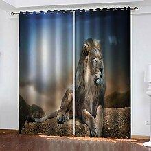 TTBBBB Rideau Occultant Noir Lion Animal L 150 x H