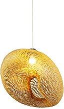 TTKDD Lampe suspendue en bambou tissé E27 de