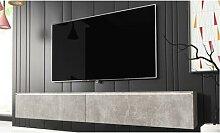 TV Cabinet Kane : 180 cm / Béton / Sans LED