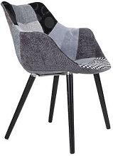 TWELVE - Chaise tissu patchwork gris et noir