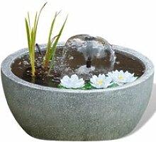 Ubbink bassin rond avec pompe et nénuphars gris