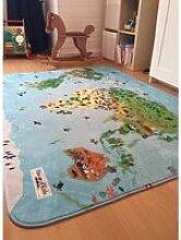 Ultra doux carte du monde bleu 70 x 95 cm