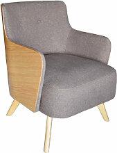 ULVIK - Fauteuil scandinave en tissu gris et bois