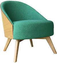 UMEA - Fauteuil scandinave en tissu vert et bois
