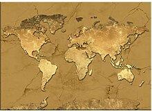 Une carte du monde art doré peintures sur toile