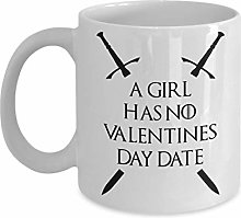 Une fille n'a pas de tasse de date de la