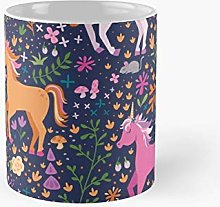 Unicorns In The Flower Garden Classic Mug For