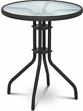 Uniprodo Table De Jardin en Verre Ronde Métal