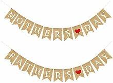 unknows Fanion en toile de jute, fête des mères,