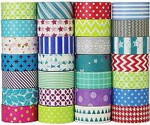 UOOOM Lot de 20 Rouleaux Washi Tape mis en Motifs
