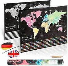 uranuspro - Carte du monde à gratter détaillée
