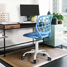 Urban Meuble - Chaise De Bureau Enfant Tissu Bleu