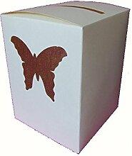 Urne ivoire ornée d'un papillon bordeaux