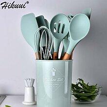Ustensile de cuisine de 9 couleurs avec manche en