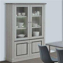 Vaisselier 130 cm couleur chêne clair et gris