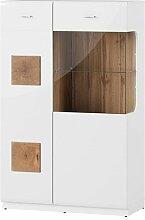Vaisselier 2 portes finition blanc brillant et
