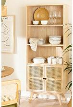 Vaisselier en bois avec 2 étagères style Ralik