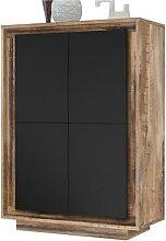 Vaisselier moderne noir couleur bois SICILIA