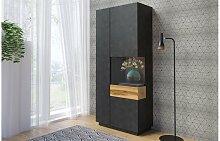 Vaisselier noir design vitre à droite - Vigo