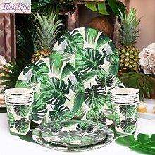 Vaisselle jetable à feuilles vertes Monstera,