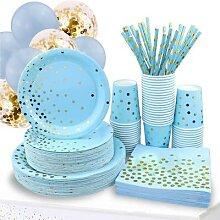 Vaisselle jetable en forme de vague bleue ou