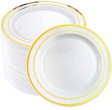 Vaisselle jetable en plastique doré, 25 pièces,