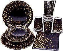 Vaisselle jetable noire et dorée, vaisselle de
