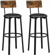 VASAGLE Chaises de Bar, Lot de 2, 39 x 39 x 100