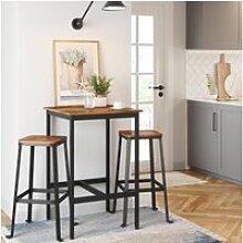 Vasagle table haute, table de bar carrée, cadre