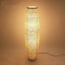 Vase à abat-jour en bambou et rotin, Luminaire