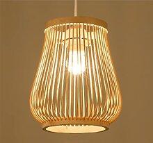 Vase bambou tissage pendentif lumière abat-jour