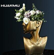 Vase en céramique nordique demi-visage, Statue de