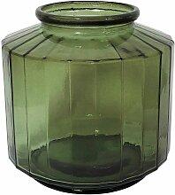 Vase façon bonbonnière facetté vert