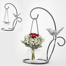 Vase photophore suspendu oiseau