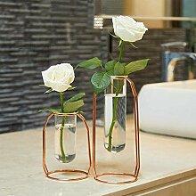 Vase Set 2 Vases en Métal Vase en Verre Pot De