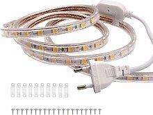 VAWAR 10m Ruban à LED - blanc chaud, Bande de