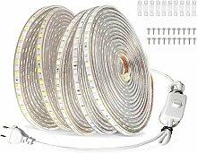 VAWAR 20m Ruban à LED avec interrupteur - blanc