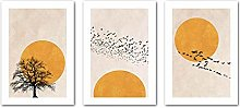 VCFHU Soleil Arbre Abstrait Toile Peinture Paysage