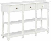 VDTD22168_FR Table console Blanc 120x30x76 cm MDF