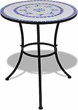 VDTD26556_FR Table de bistro Bleu et blanc 60 cm