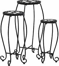 VDTD30065_FR Tables mosaïque 3 pcs Noir et blanc