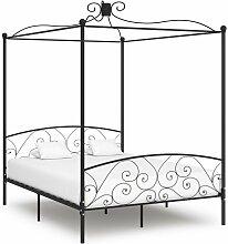 VDTD36308_FR Cadre de lit à baldaquin Noir Métal