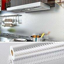 VEELIKE Papier Peint Adhesif Cuisine Argenté 40cm