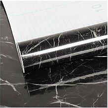 VEELIKE Papier Peint Adhesif Mural Noir Marbre