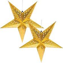 Veemoon Étoile de Papier Lanterne Abat- Jour 2Pcs