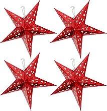 Veemoon Étoile de Papier Lanterne Abat- Jour 4Pcs
