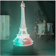 Veilleuse 3D Double Couleur Led Night Light Tour