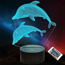 Veilleuse 3D en forme de dauphin, avec 16