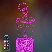Veilleuse ballerine LED 3D, cadeau avec 16